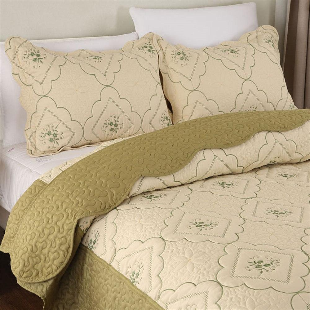 Summer Thin Green <font><b>Quilt</b></font> King Queen Size Cover Embroidery bedding Pillow Shams