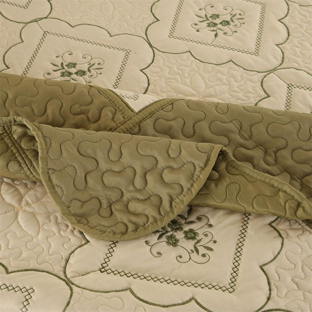 Summer Thin Comforters Green <font><b>Quilt</b></font> Cover Embroidery bedding Pillow Shams