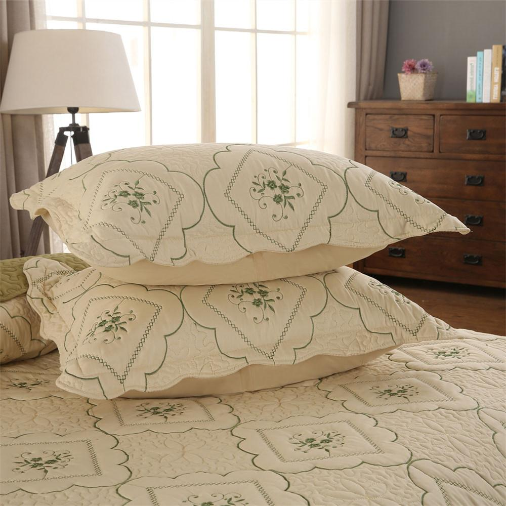 Summer Thin Green <font><b>Quilt</b></font> Bedspreads King Cover Pillow Shams