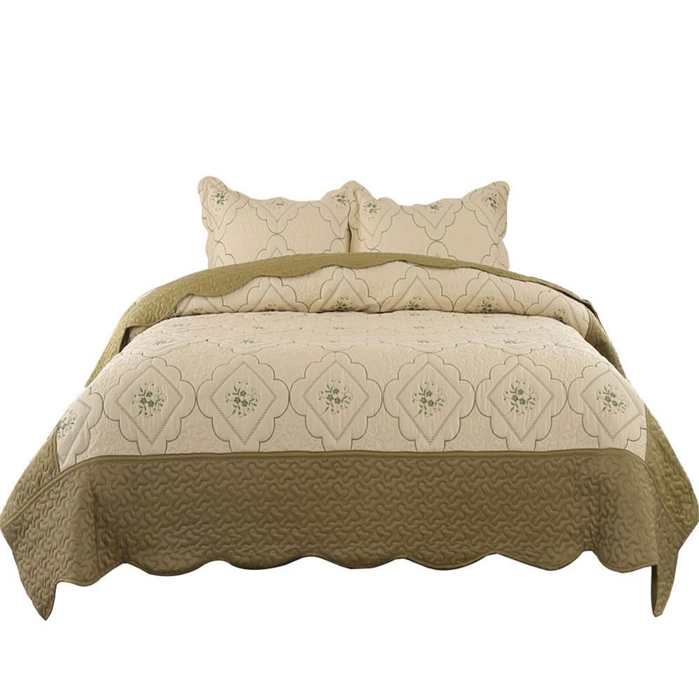 Summer Thin Army Green <font><b>Quilt</b></font> Patchwork King Queen Size Bed Cover Embroidery Pillow Shams D20
