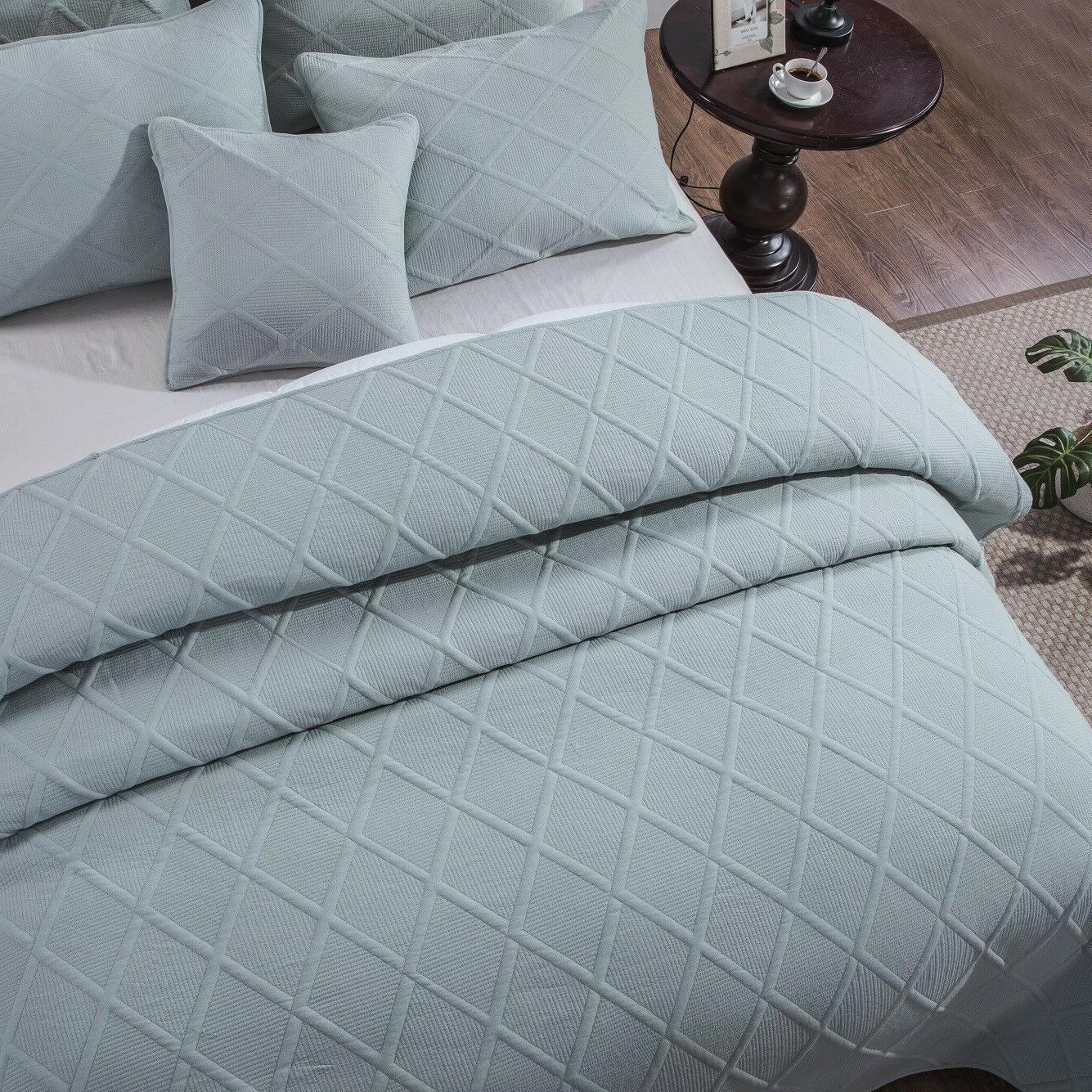 Tache Seafoam Blue Light Quilt Coverlet Bedspread Set