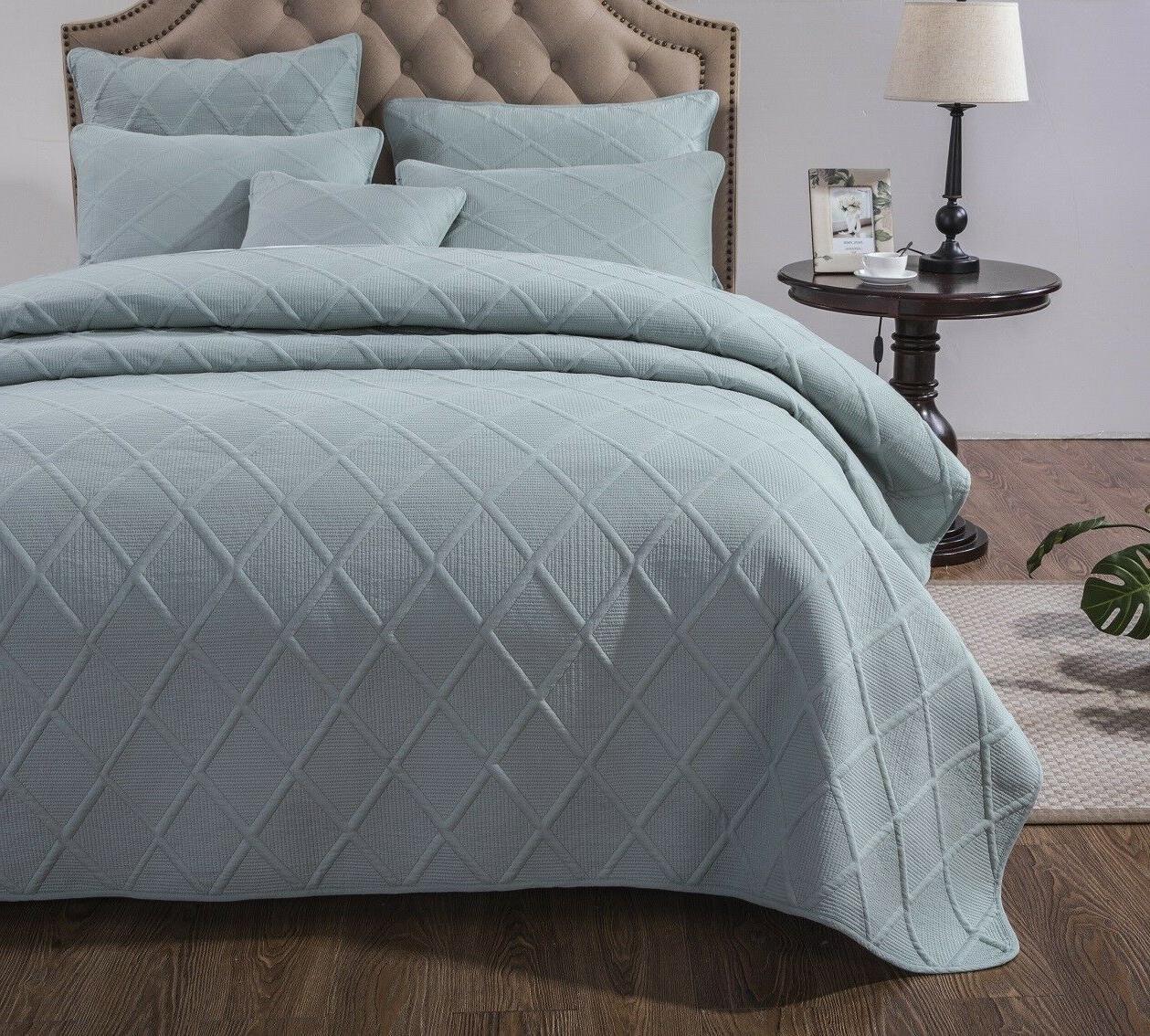 Tache Contemporary Solid Seafoam Blue Cotton Light Coverlet Set