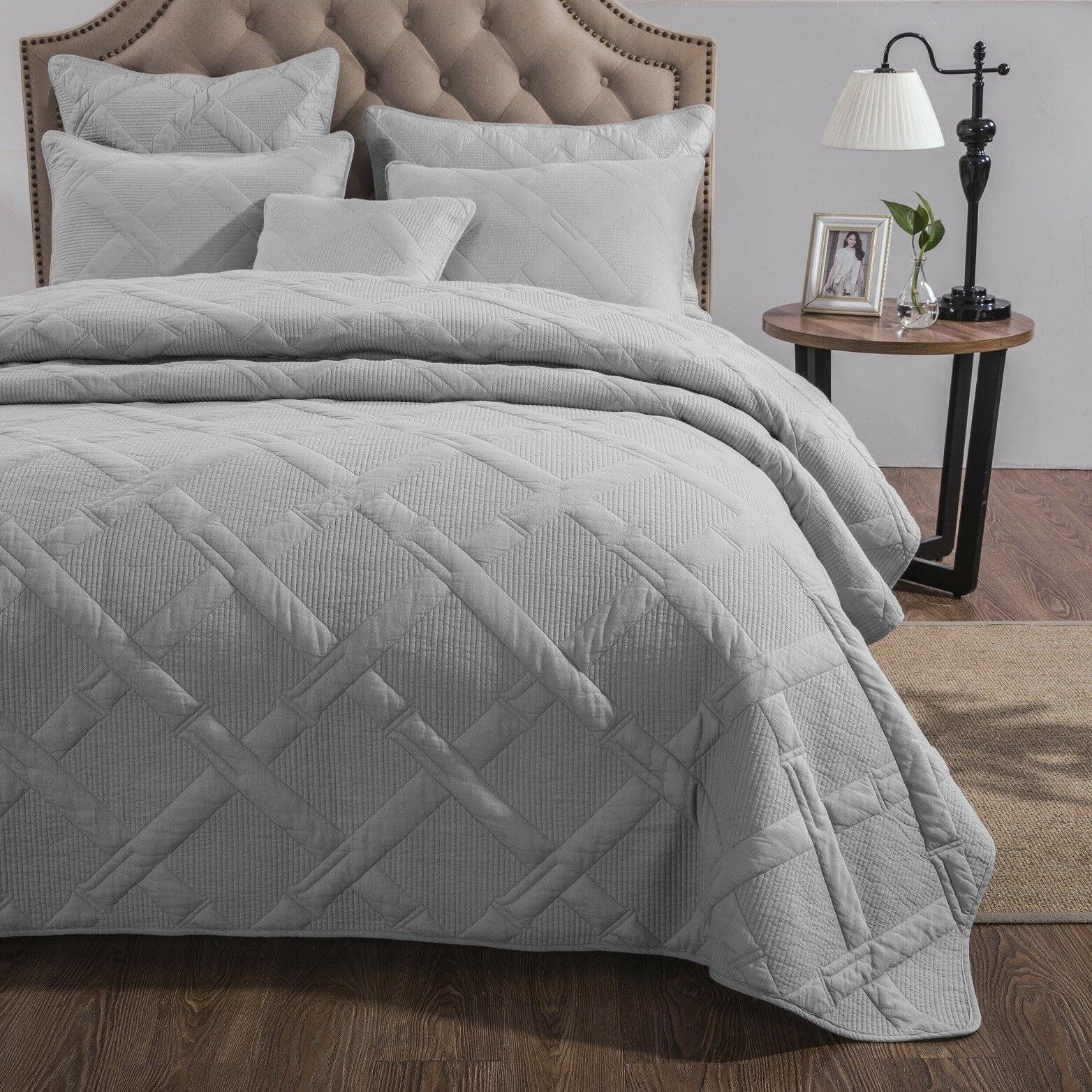 Tache Solid Silver Coverlet Bedspread Set