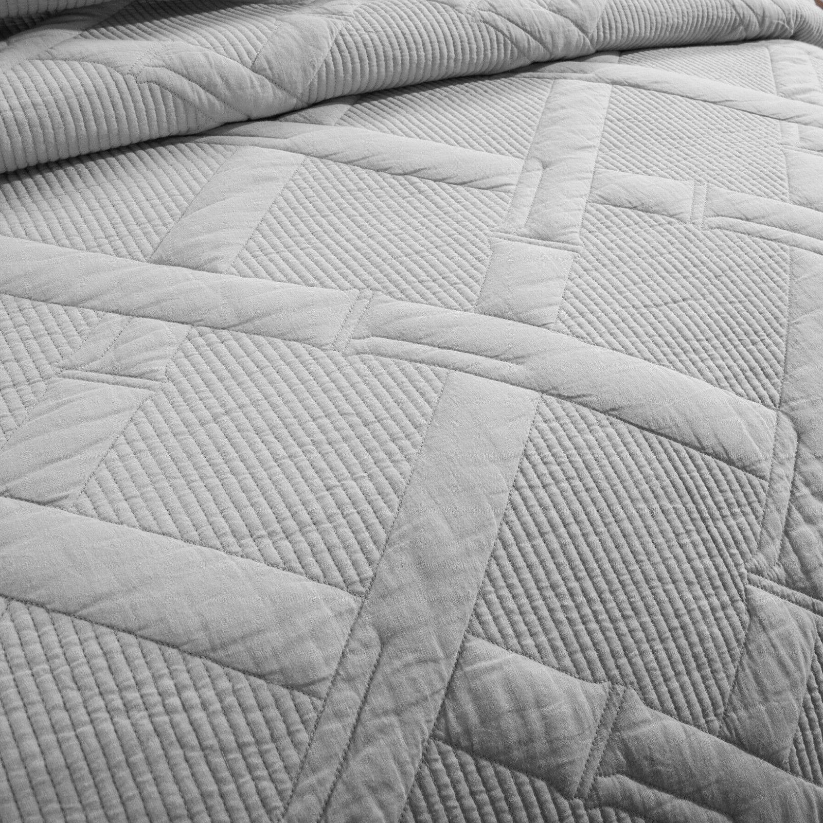 Tache Light Grey Silver Quilt Coverlet Bedspread