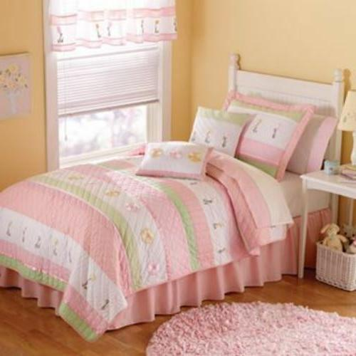 PEM America Tara 3pc Quilt Set FULL/QUEEN Pink White Flowers