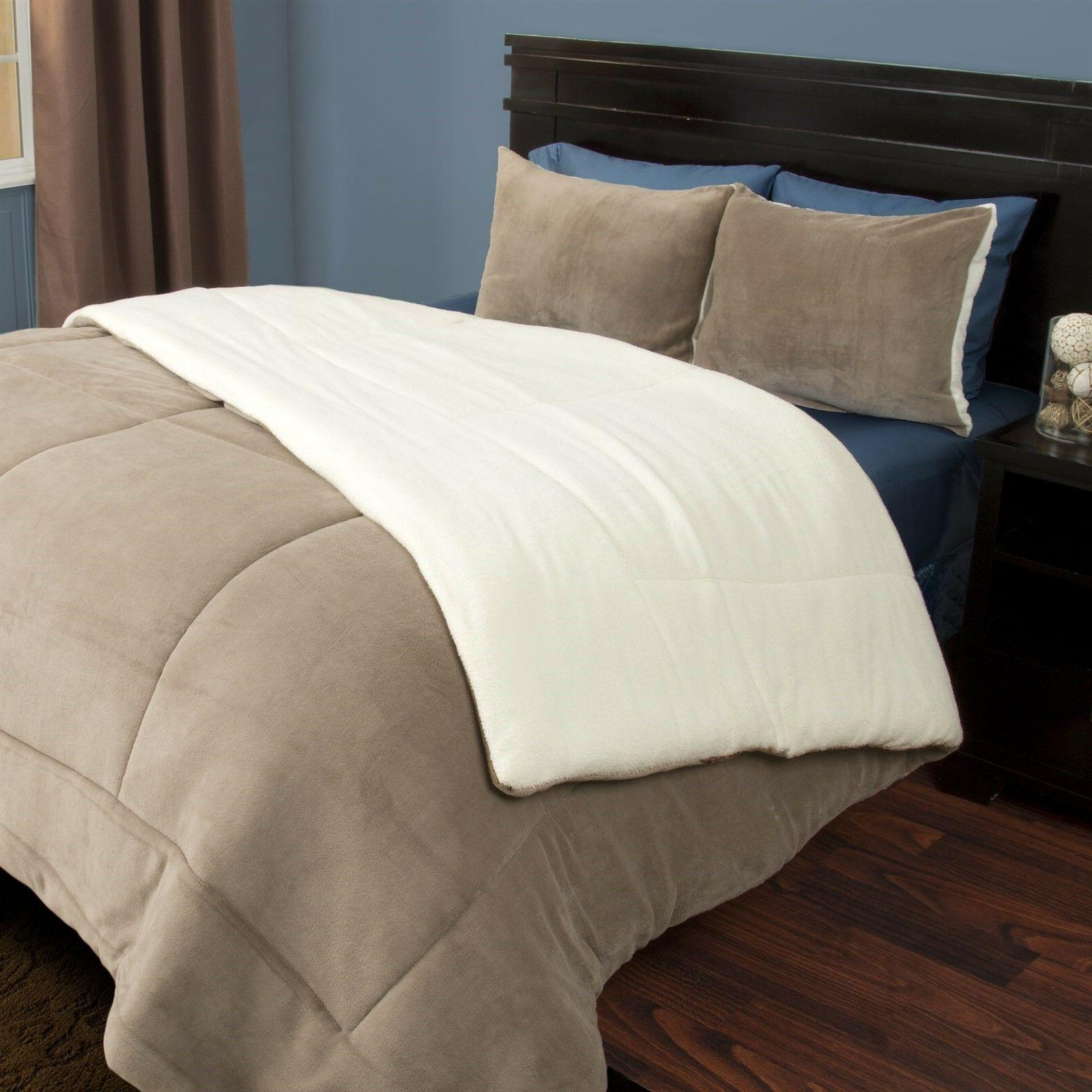 taupe king sherpa puffy comforter
