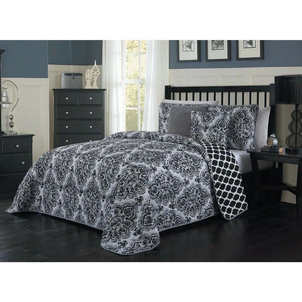 teagan damask reversible king 5 pc comforter