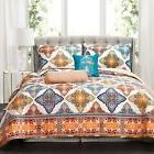 Turquoise/Orange Peris Quilt Set 5pc - Lush Decor King Size