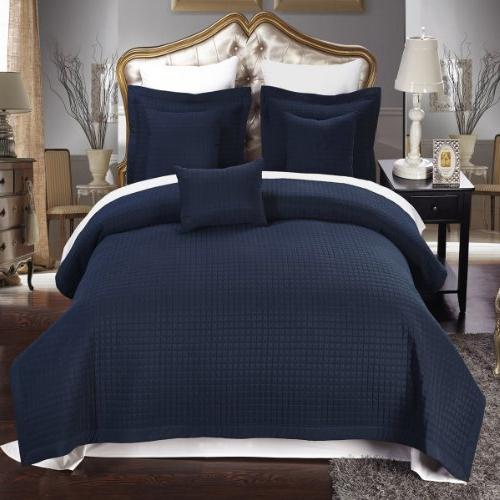 Full / Queen size Navy Coverlet 3pc set, Luxury Microfiber C