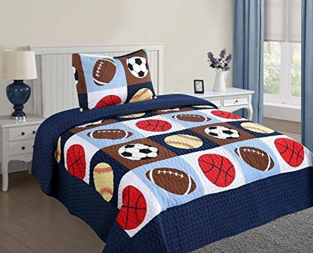 Twin Size 2 Pcs Quilt Bedspread Set Kids Sports Basketball F