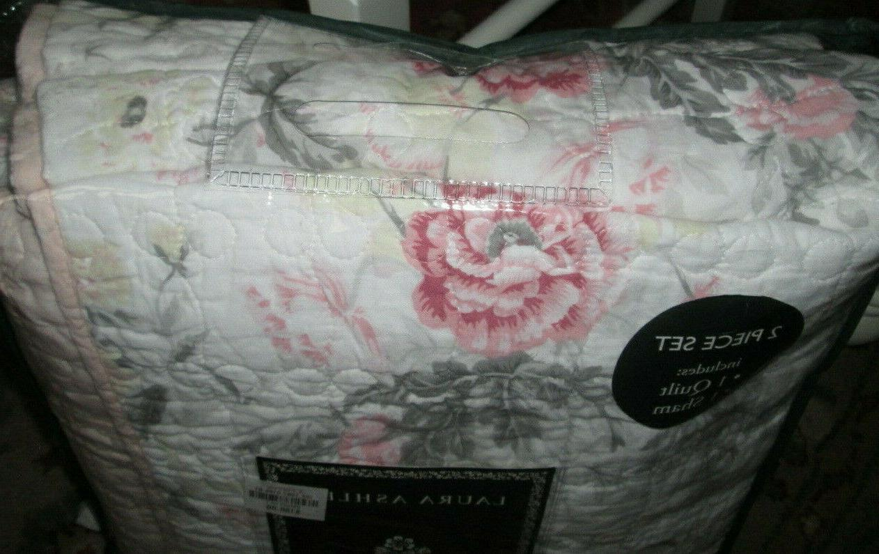 LAURA ASHLEY $180 QUILT 2PC PINK gray
