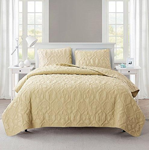 VCNY Home Shore 3 Quilt SUPER SOFT Wrinkle Set, Queen, Sand Shell.