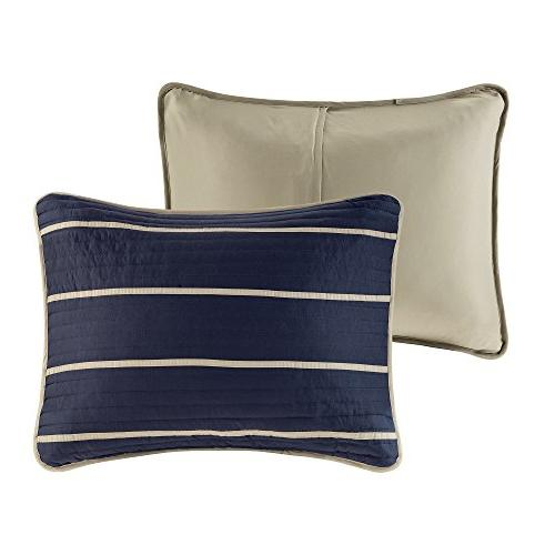 Comfort Spaces Mini - 2 Navy, Stripes XL Quilt, Sham