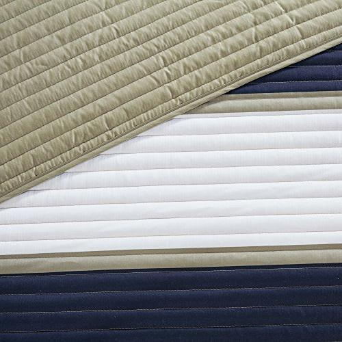 Mini - 2 Navy, White, Khaki - Stripes Pattern XL Includes Quilt, 1 Sham