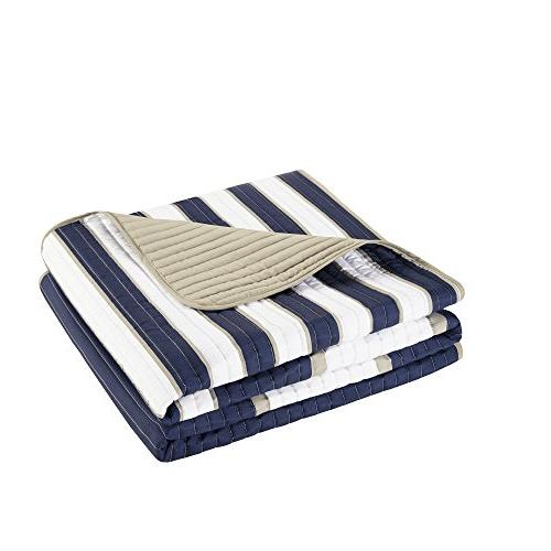 Comfort - Mini Quilt - Piece Navy, White, Stripes Pattern Twin/Twin XL Includes 1 Quilt, 1 Sham