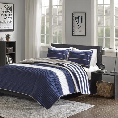 Comfort Spaces - Verone Mini Coverlet Set Navy, XL Quilt,