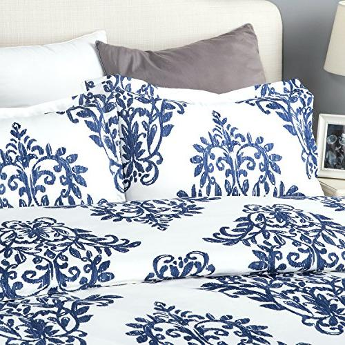 Bedsure Blue Duvet Cover with Zipper Closure -3 Pieces Ultra Hypoallergenic