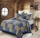 Virah Bella Collection BLUE BLOCKS Patchwork Quilt Set FULL