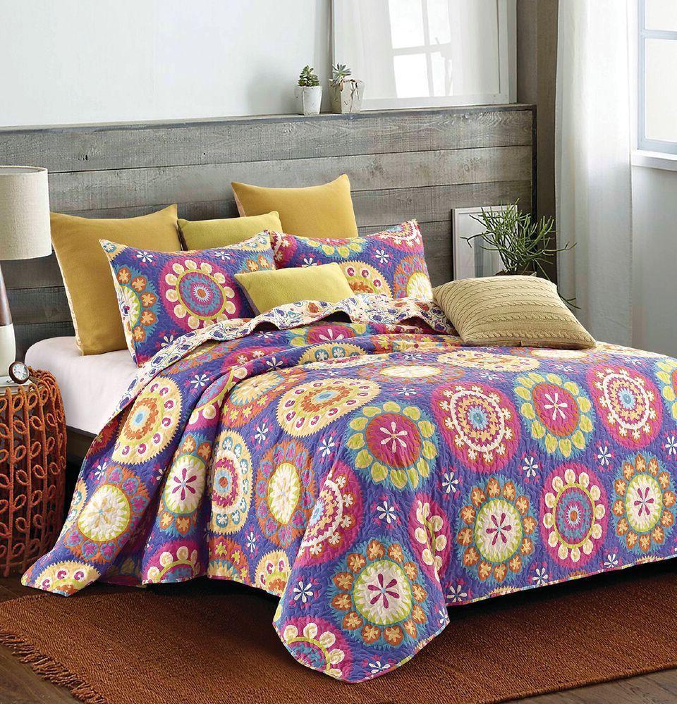 "Virah Bella® Collection - ""Suri Purple"" Printed Quilt Set -"