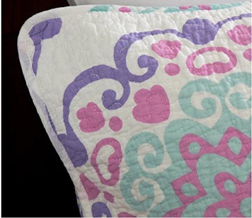 O3 Studio Design Studio Cotton 4 Piece Pink/Purple/Aqua, Queen Full