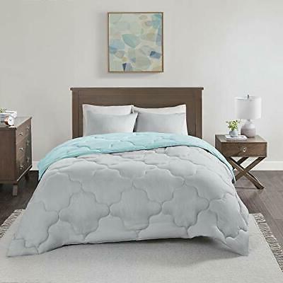 Comfort Spaces Piece Comforter Season Full Aqua/Grey