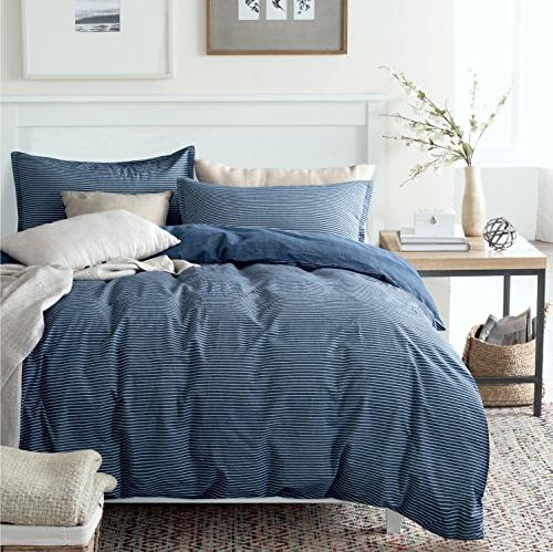 washed cotton chambray duvet quilt