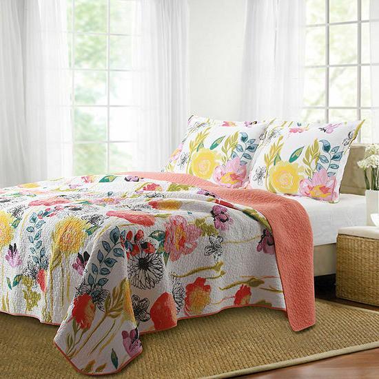 watercolor dream floral quilt set