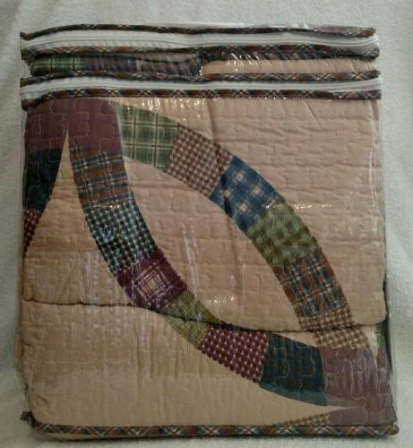 *NEW* Bella Wedding Ring Tan Patchwork Country Charm 3PC Quilt Set
