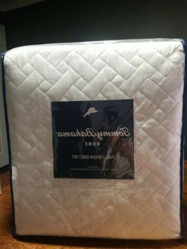 white chevron quilt set