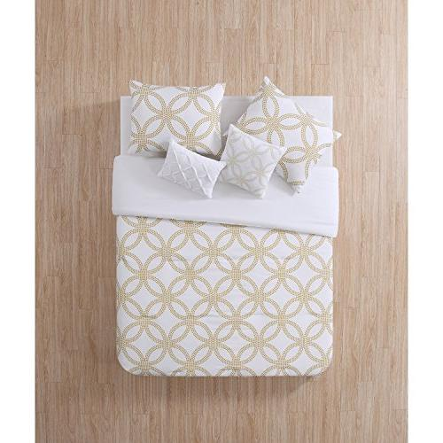 white metallic gold geometric comforter