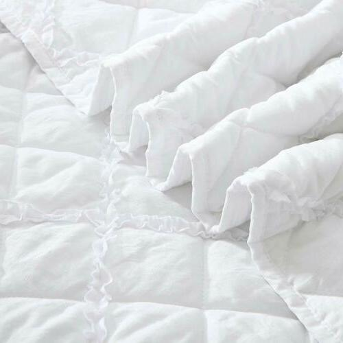 White Washed Microfiber Bedspread Coverlet