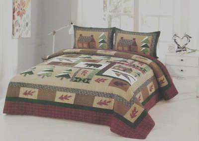 winter cabin 3 pc quilt set king