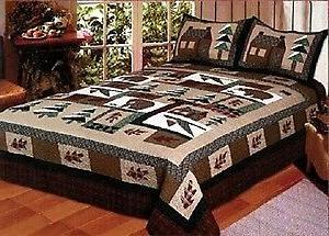 winter cabin 3 piece king quilt bedding