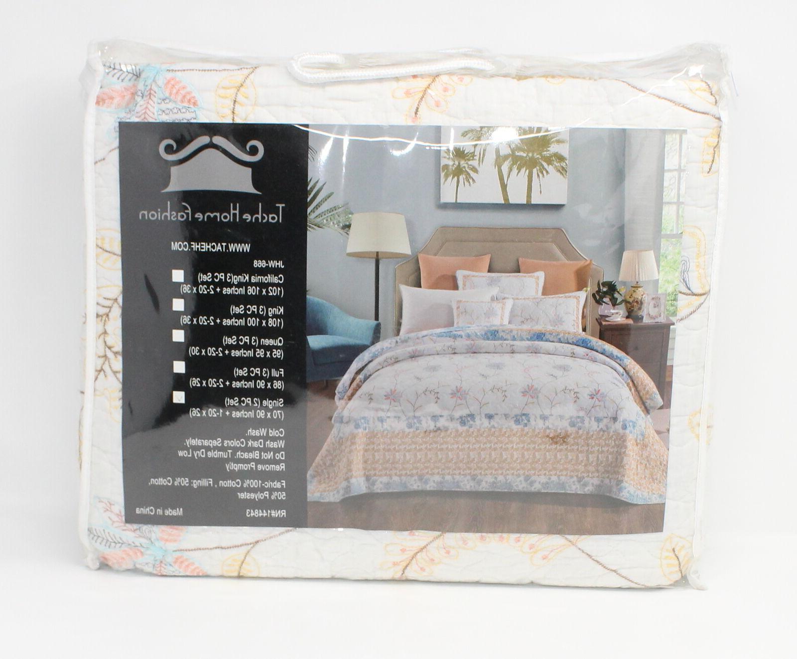 winter frost embroidered floral quilt bedspread set