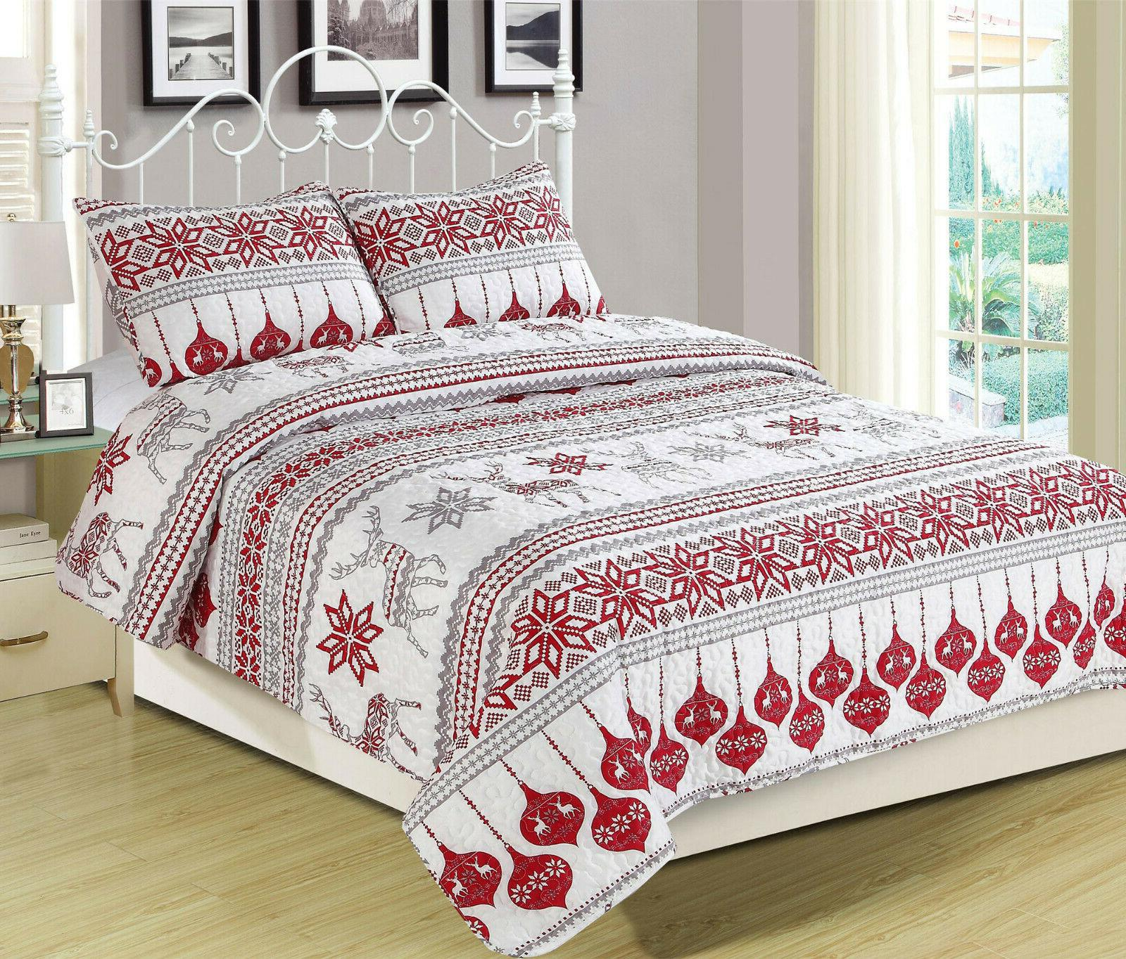 winter holiday quilt bedding set red grey