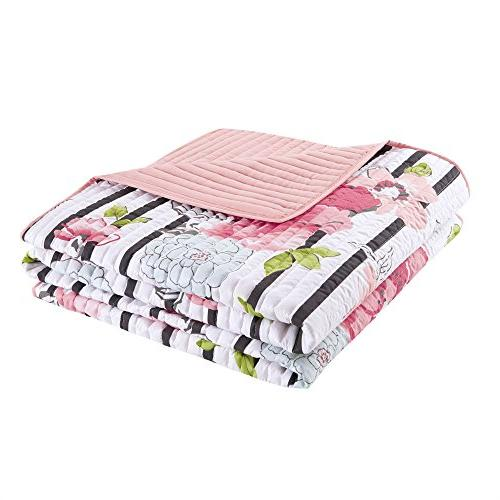 Comfort Spaces Mini 3 Piece - Ultra Microfiber In Vibrant Floral Design - Queen Includes 1 and Shams