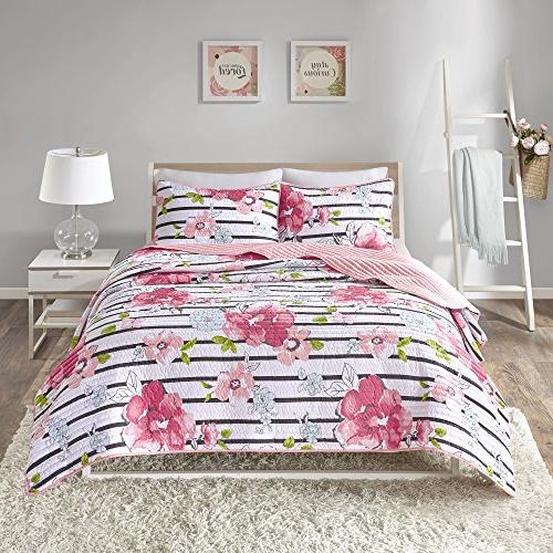 Comfort Spaces Zoe Mini Quilt 3 - Adorable Microfiber Printed Vibrant Floral - Queen 1 and Shams