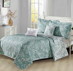Home Soft Things 5 Piece LA Boheme Quilted Printed Bed Sprea