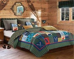 Duke Imports Lake & Lodge Rustic Patchwork Printed Quilt Set