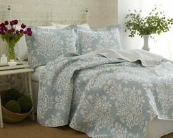 Laura Ashley Rowland Blue Quilt Set, Twin