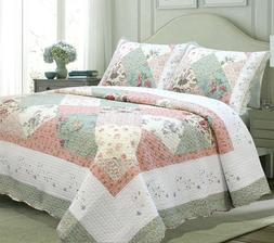 Laura Celadon Real Patchwork Reversible 100%Cotton Quilt Set