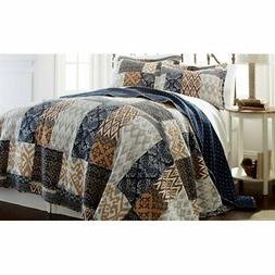 Laura Printed 3 Piece Quilt Set by Amrapur, Denim/Grey/Taupe