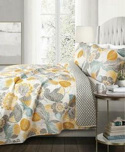 Lush Decor Layla 3 Piece Quilt Set, King, Yellow & Gray