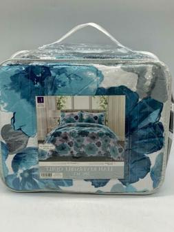 leah floral 3 piece reversible bedding set