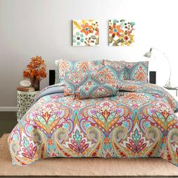 Leah Paisley Print Pattern 3-Piece Reversible Quilt Set, Bed