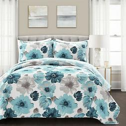 Leah Quilt Blue 3Pc Set Full/Queen Reversible Floral  Bedspr