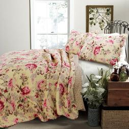 Lelia Rose Cottage 100%Cotton 3 Piece Reversible Quilt Set,