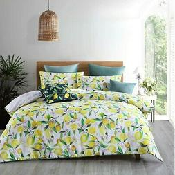 Lemons Quilt Cover Set White by Bianca features Lemons in ye