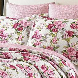 LAURA ASHLEY Lidia Pink White Flower FLORAL Twin 2pc Quilt S