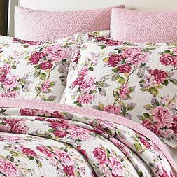 LAURA ASHLEY Lidia Pink White Flower FLORAL Full Queen 3pc Q
